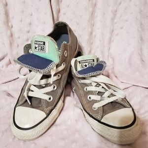 All Star Converse grey with mint and dark blue.